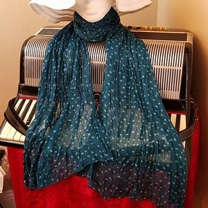 Accessories - LIGHTWEIGHT TEAL GREEN & WHT SPECKLED SCARF